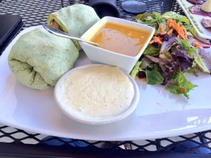 Quinoa avocado burrito with butternut squash soup and green salad
