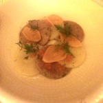 Rye corzetti with potato, smoked trout roe