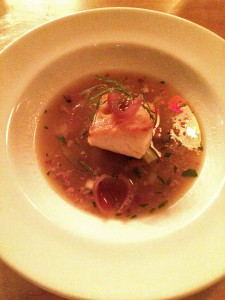 Cod in onion broth